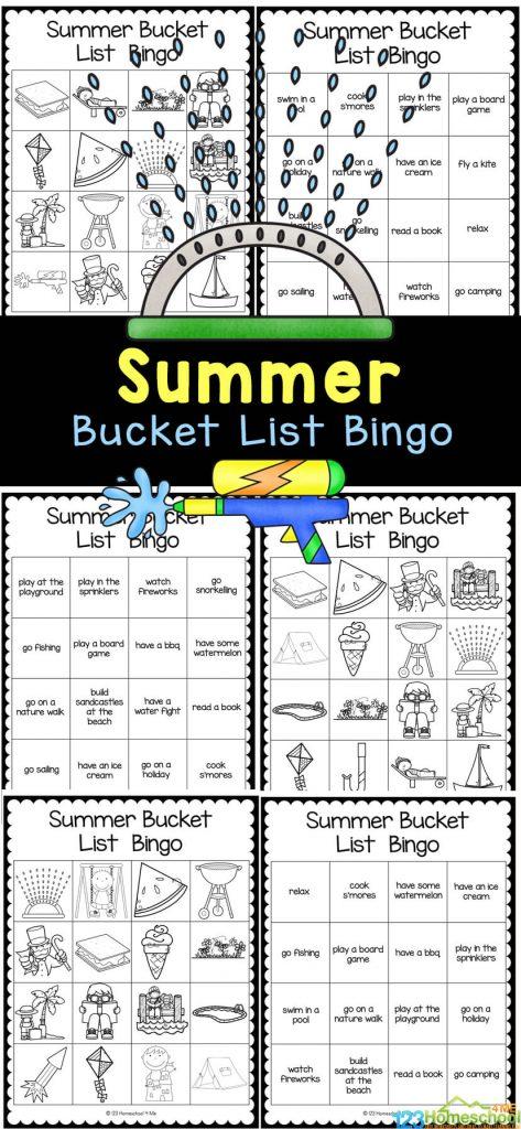 Free Summer Bingo Game. #freehomeschooldeals #fhdhomeschoolers #summerbingogame #bingogameforkids #summerbingoactivity