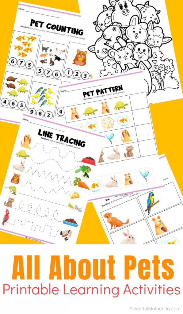 Preschool Pet Activity Pages. #freehomeschooldeals #fhdhomeschoolers #petactivitypages #kidspetworksheets #preschoolpetworksheets