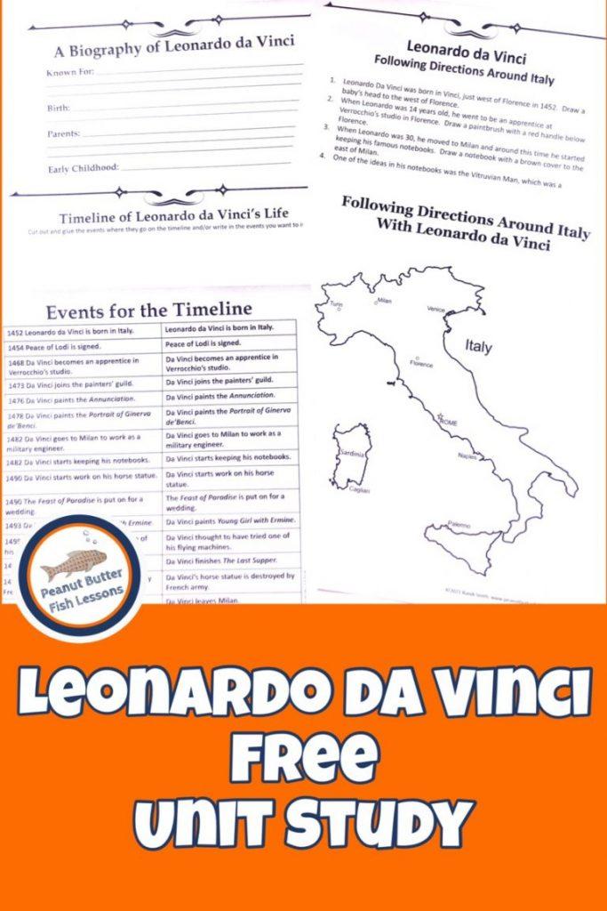 Leonardo da Vinci Learning Activity. #freehomeschooldeals #fhdhomeschoolers #leonardodavinciunitstudy #learningaboutdavinci #historicalfigureunitstudy