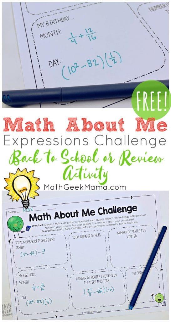 Middle School Math Challenge. #freehomeschooldeals #fhdhomeschoolers #middleschoolmathactivity #aboutmemathchallenge #mathreviewactivity
