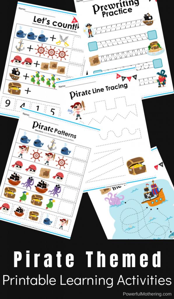 Preschool Pirate Learning Activities. #freehomeschooldeals #fhdhomeschoolers #pirateworksheets #piratesforpreschool #pirateactivities