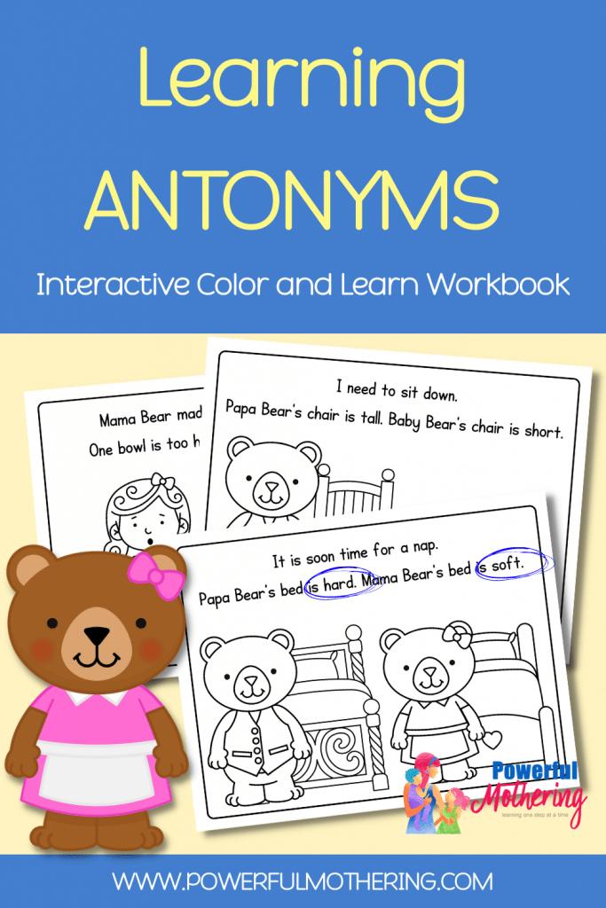 Easy Reader Antonym Book. #freehomeschooldeals #fhdhomeschoolers #learningaboutantonyms #printableeasyreader #earlyreadingactivity