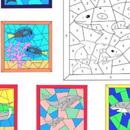 Ocean Color By Number Pages. #freehomeschooldeals #fhdhomeschoolers #learningabouttheocean #colorbynumberworksheets #colorbynumberactivities