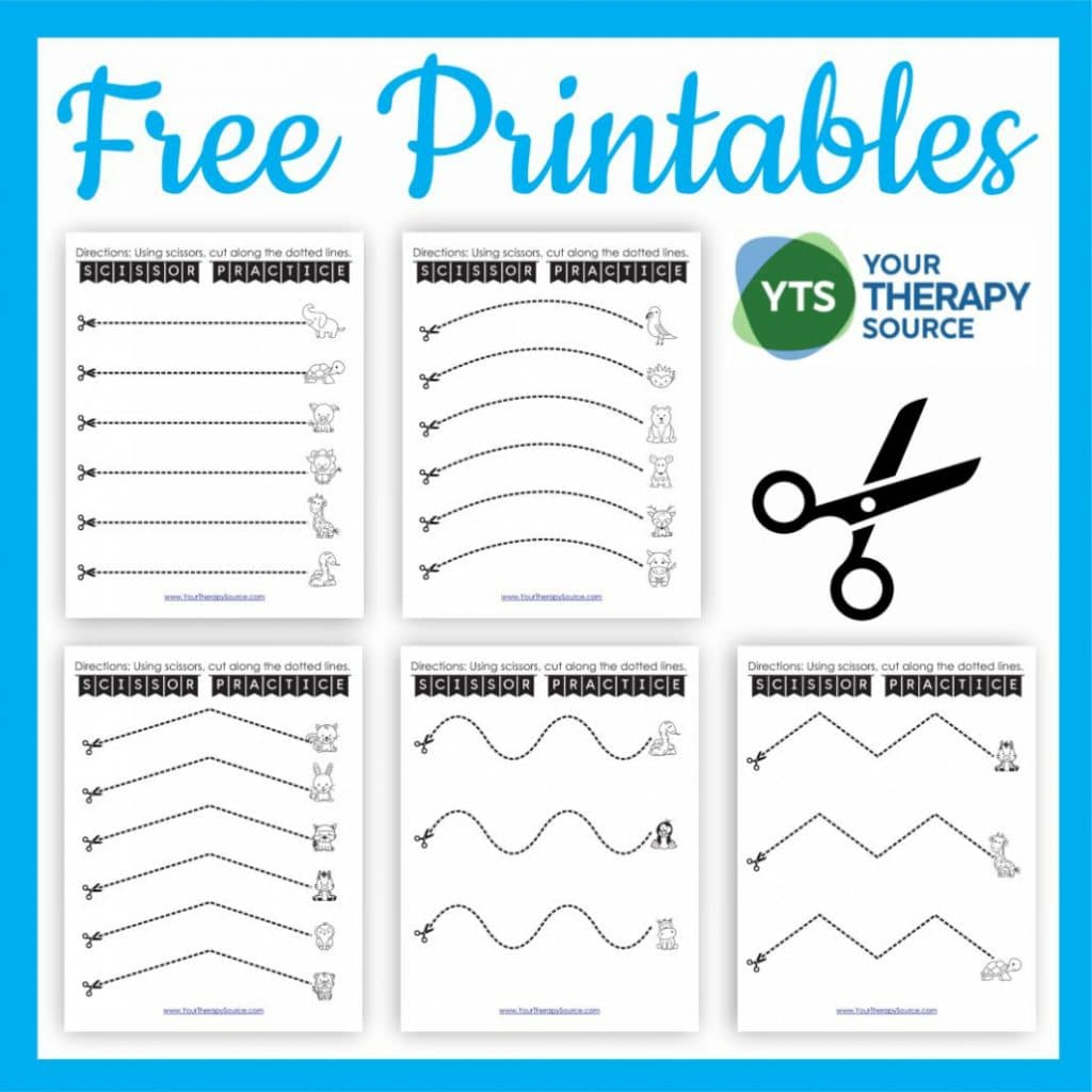 Preschool Cutting Practice Pages. #freehomeschooldeals #fhdhomeschoolers #freecuttingworksheets #learningtousescissors #cuttingpracticepages