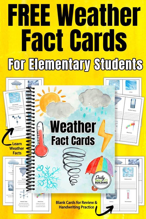 Printable Weather Study Cards. #freehomeschooldeals #fhdhomeschoolers #learningaboutweather #weatherstudy #weatherfacts