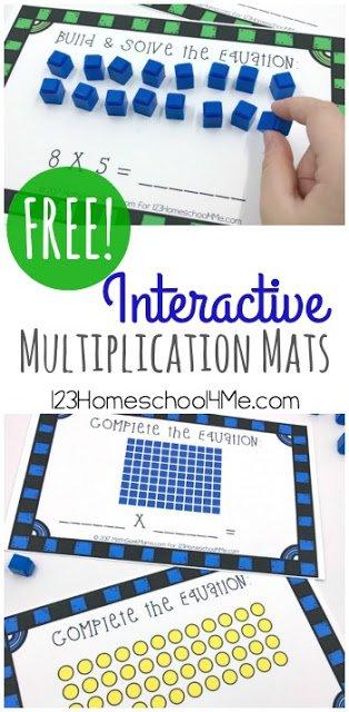 Interactive Multiplication Activity Mats.  #freehomeschooldeals #fhdhomeschoolers #learningmultiplication #multiplicationhelp #freemultiplicationactivity