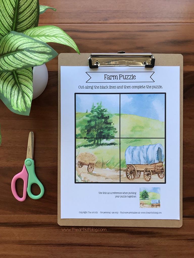 Preschool Printable Farm Puzzles. #freehomeschooldeals #fhdhomeschoolers #preschoolpuzzles #freeprintablepuzzles #farmanimalpuzzles