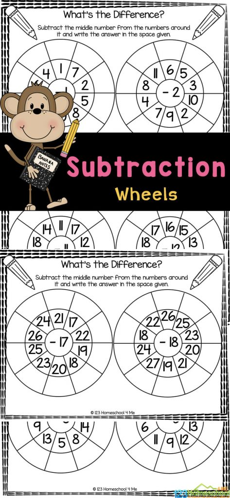 Fun Subtraction Wheel Worksheets. #freehomeschooldeals #fhdhomeschoolers #learningaboutsubtraction #subtractionworksheets #subtractionpracticepages