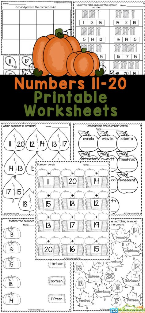 Fall Counting Teens Worksheets. #freehomeschooldeals #fhdhomeschoolers #learningtocount #countingteens #countingworksheets