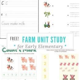 Free Farm Mini-Unit for Early Elementary. #freehomeschooldeals #fhdhomeschoolers #farmminiunit #farmtheme #farmprintables